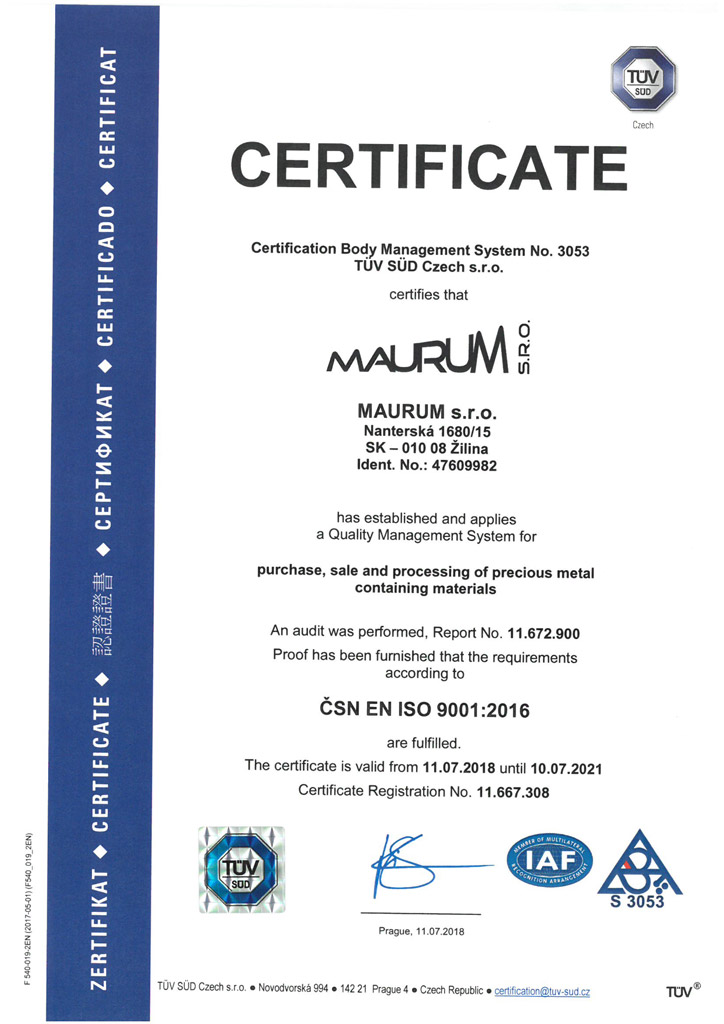 Quality Management System for purchase, sale and processing of precious metal containing materials ISO 9001.
